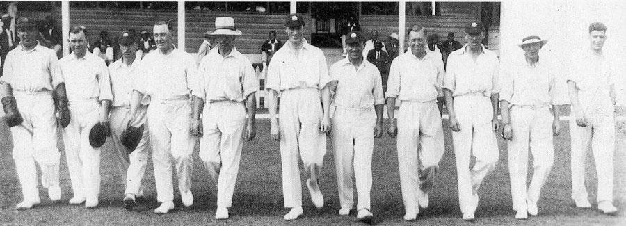England cricket team walks out line abreast