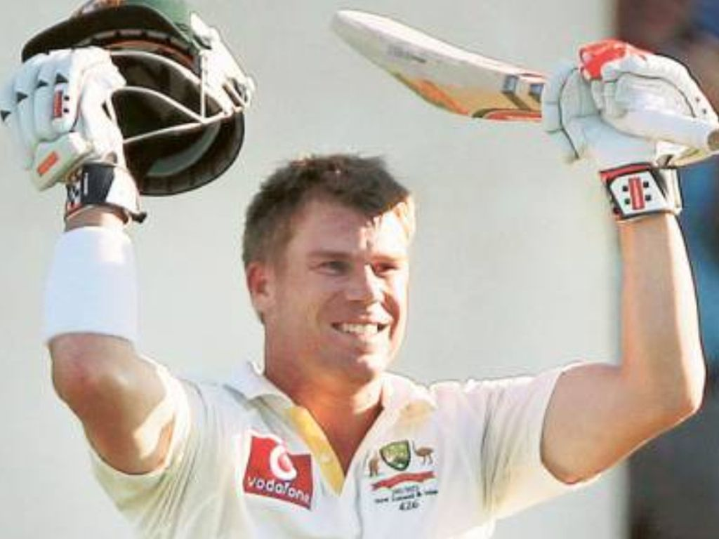 Close up of David Warner celebrating