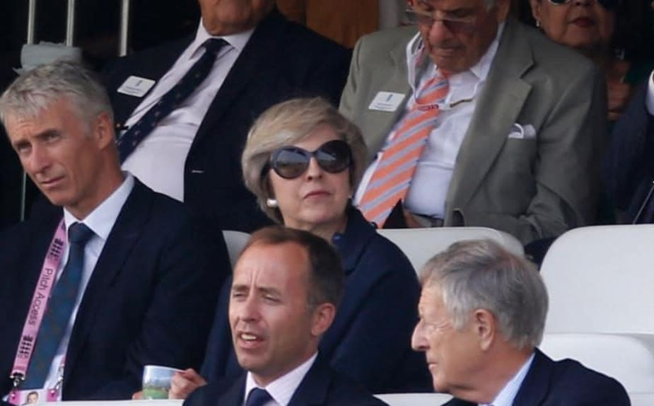 Theresa May, a keen cricket fan, watches over the action at Lord's Credit: Reuters