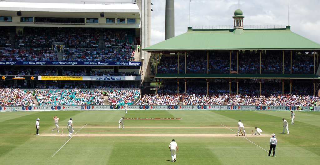 Panoramic view of Shane Warne bowling in Sydney