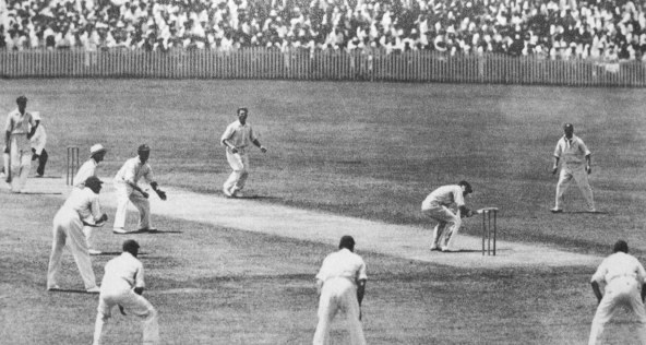 Harold Larwood bowling to Bill Woodfull