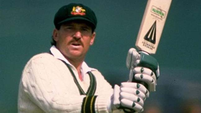 Cose up of Allan border, bat aloft