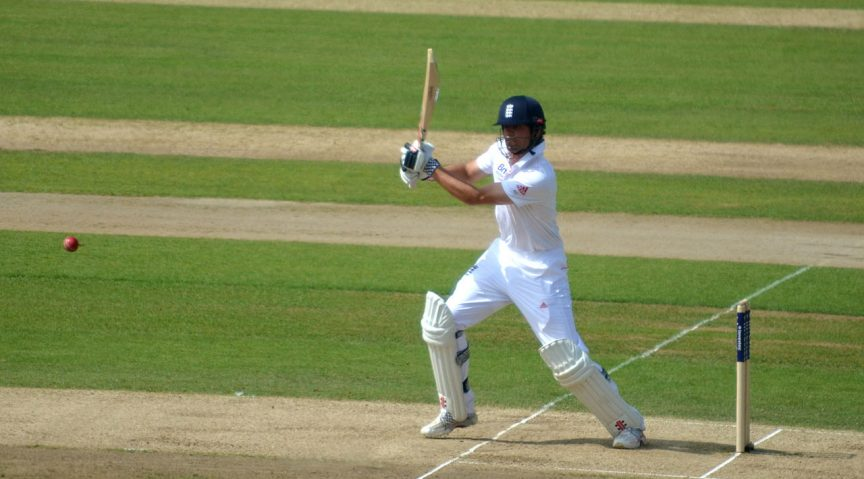 Alastair Cook cuts to mid wicket